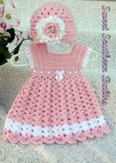 Baby Girl's Pink Dress with Matching Hat by SweetSouthernBabies - Baby Girl Dress - Ideas of Baby Girl Dress - Baby Girl's Pink Dress with Matching Hat by SweetSouthernBabies Knitting Baby Girl, Baby Girl Crochet, Crochet Baby Clothes, Crochet For Kids, Crochet Dress Girl, Crochet Dresses, Baby Patterns, Crochet Patterns, Crochet Baby Dress Free Pattern