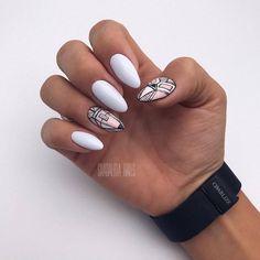 Маникюр 🌸 Дизайн ногтей 2017 Easy Nail Art, Cool Nail Art, Oval Nails, My Nails, Round Shaped Nails, Short Round Nails, Pretty Gel Nails, Gel Nagel Design, Geometric Nail Art