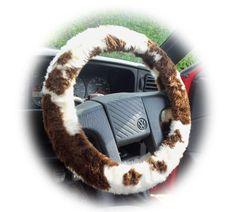 Brown and cream Cow print fuzzy car steering wheel cover Jeep Wheel Covers, Fuzzy Steering Wheel Cover, Jeep Tire Cover, Car Covers, Red Jeep Wrangler, Hippie Car, Fluffy Cows, Cute Car Accessories, Cute Cars