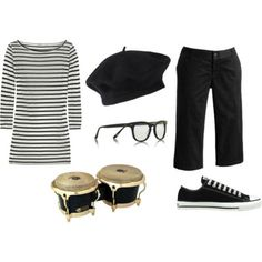 I am creating a set of easy costumes that are based off of a base outfit of a black and white striped shirt, black cropped pants, and black Cons. Easy Costumes, Cosplay Costumes, Halloween Costumes, Costume Ideas, Beatnik Style, Beatnik Fashion, Cute Dresses, Cute Outfits, Black Cropped Pants