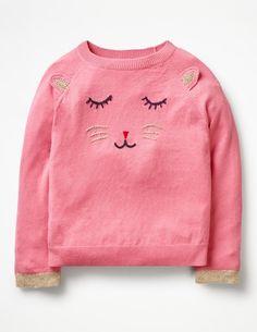 Animal Antics Jumper Knitwear at Boden Motifs Animal, Animal Antics, Pink Cat, Mode Online, Girl Falling, Girls Sweaters, Animal Design, Kind Mode, Pullover