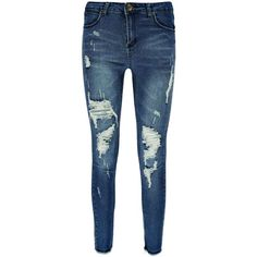 Boohoo Sophia Raw Hem Distressed 5 Pocket Skinny Jeans (£29) ❤ liked on Polyvore featuring jeans, pants, high waisted boyfriend jeans, high waisted ripped skinny jeans, ripped skinny jeans, slim straight jeans and skinny jeans