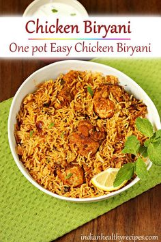 chicken biryani is a delicious one pot dish where chicken is cooked with fragrant rice & spices. chicken biryani is a delicious one pot dish where chicken is cooked with fragrant rice & spices. Chicken Biryani Recipe Indian, Biryani Chicken, Indian Chicken, Biryani Recipe Easy, Veg Biryani, Chicken Recipes Video, Healthy Chicken Recipes, Cooking Recipes, Rice Recipes
