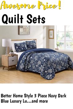 (This is an affiliate pin) Better Home Style 3 Piece Navy Dark Blue Luxury Lush Soft Floral Flowers Paisley Printed Design Quilt Coverlet Bedspread Oversized Bed Cover Set # 8842 (King/Cal-King) Bed Cover Sets, Bed Covers, Quilt Sets, Better Homes, Bedspread, Floral Flowers, Paisley Print, 3 Piece, Lush