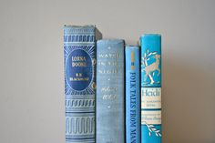 blue vintage book collection: instant collection of 4 books