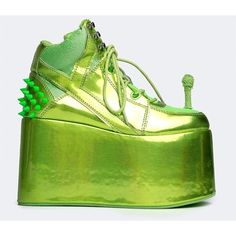 QOZMO-HI ALIEN SNEAKER (165 CAD) ❤ liked on Polyvore featuring shoes, sneakers, platforms, green, laced shoes, spiked platform sneakers, hologram platform shoes, platform shoes and platform sneakers