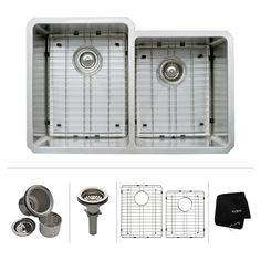 32 inch Undermount 50/50 Double Bowl 16 gauge Stainless Steel Kitchen Sink - Stainless Steel Kitchen Sinks - Kitchen Sinks - Kitchen | KrausUSA.com