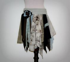 Boho Skirt, Hippie, Gypsy, Funky, Tattered Fairy Woodland, Eco Earth Friendly, Blue, Green, Upcycled Clothing