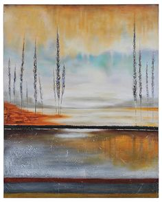 Earth in Fall is a sophisticated landscape boasting vibrant colors, high gloss and classic imagery. Hand-painted on gallery-wrapped canvas. Fall Canvas Painting, Autumn Painting, Fall Paintings, Modern Artwork, Contemporary Wall Art, Art Of Living, Decoration, Wall Art Decor, Framed Artwork