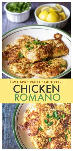 Chicken Romano with Lemon Butter sauce is a delicious gluten free, low carb and Paleo dinner. Easy to make and high in protein with only net carbs per serving. Not really Paleo with the cheese, but looks tasty. Healthy Chicken Dinner, Paleo Dinner, Dinner Recipes, Dinner Ideas, Gluten Free Recipes, Low Carb Recipes, Healthy Recipes, Paleo Meals, Whole30 Recipes