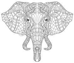 Elefante cabeza doodle en bosquejo blanco vector. — Vector de stock Más