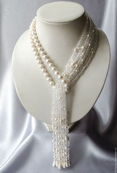 "Necklace-tie of pearl with rock crystal ""Waterfall"" Perlen Quaste Halskette mit Bergkristall Wasserfall Bead Jewellery, Pearl Jewelry, Beaded Jewelry, Jewelery, Jewelry Necklaces, Handmade Jewelry, Beaded Necklace, Crystal Necklace, Collar Necklace"
