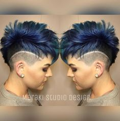 hairstyles womenshair mohbeauty undercut pulpriot hairdare beauty blue moh Blue undercut pulpriotYou can find Undercut and more on our website Short Pixie Haircuts, Pixie Hairstyles, Cool Hairstyles, Mohawk Hairstyles For Women, Haircut Short, Beautiful Hairstyles, Hairstyle Ideas, Short Hair Cuts For Women, Short Hair Styles