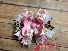 Valentine's day hair bow, M2M hair bow , Cheetah hair bow, Hairbow, Boutique bow  on Etsy, $8.00