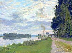 Claude Monet (French, Impressionism, 1840-1926): The Promenade at Argenteuil II (La Promenade d'Argenteuil II), 1872. Series: La Promenade d'Argenteuil, 1872, four versions. Oil on canvas, 21-5/8 x 29 inches (55 x 73.5 cm). Private Collection