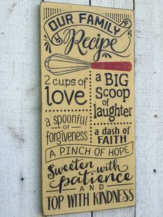 """Our Family Recipe, kitchen wall art, family rules, farmhouse kitchen decor, gift for mom, primitive distressed rustic 11"""" x 24"""" wood sign"""