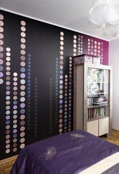 Farbgestaltung Schlafzimmer Ideen Lila Nuancen Tapete Parkettboden