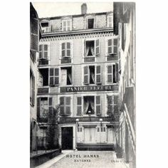 """Chapter 19: This is the Hotel Panier Fleuri in Bayonne. Today was my second time staying in that exact room there, except the first time, with Bill and Cohn, """"seemed like a very long time ago."""" As the driver dropped me off, """"the car was powdered with dust. I rubbed the rod-case through the dust. It seemed the last thing that connected me with Spain and the fiesta…I was through with fiestas for a while"""" (135-136)."""