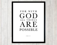 Christian Typography Scripture Bible Verse Printable by DIYwallART, $5.00