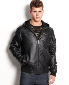 Structure Men's Quilted Bomber Jacket black Faux Leather size M, L ...