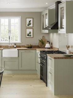 Sage Green Kitchen, Green Kitchen Cabinets, Kitchen Cabinet Colors, Sage Green House, Green Sage, Kitchen With Black Appliances, Green Country Kitchen, Olive Green, Kitchen Room Design