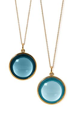 'Mischief' London Blue Topaz and Blue Topaz Disc Pendents