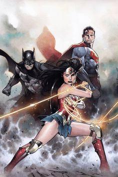 Justice League - Wonder Woman, Batman and Superman by Olivier Coipel *, DC Super Hero Girls: Super Hero High Super Hero High, Dc Super Hero Girls, Batman Wonder Woman, Batman Art, Batman And Superman, Batman Robin, Batman Arkham, Comic Books Art, Comic Art