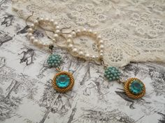 AQUA vintage assemblage earrings shabby chic by lilyofthevally