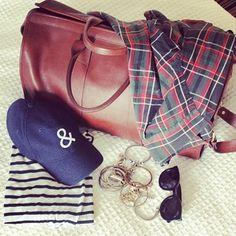 leather, stripes, navy, textured whites and tartan