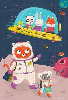 Jannie Ho Illustration — Space http://www.chickengirldesign.com/