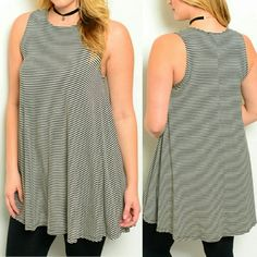 "COMING SOON! ""LIKE"" TO BE NOTIFIED WHEN AVAILABLE striped sleeveless tunic. women's plus sizes. Brand NWT retail and never worn. soft, stretchy, flowy, relaxed fit. 49% polyester, 48% rayon, 3% spandex. measurements will be added soon. no trades. Tops Tunics"