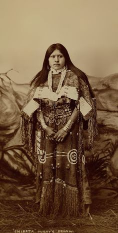 Chipeta (aka White Singing Bird) - Squaw (wife) of Chief Ouray - Ute tribe - 1882 - photographer unknown. - In 1880 when his father died, Ouray became chief of all the Ute people. He and Chipeta became renowned diplomats, eloquent in many languages. Chipeta played guitar and sang in three languages.