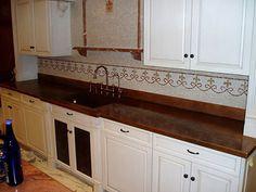 Countertop copper patina integral sink tile backsplash