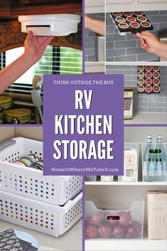 RV Kitchen Storage can be a challenge in your tiny RV kitchen, even for just a weekend! This post has some great tips on how to make the most of limited space while working towards RV living. via @homeiswherewetakeit