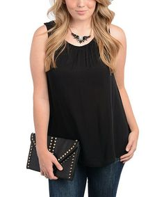 Take a look at this Black Sleeveless Swing Top - Plus by Ami Sanzuri on #zulily today!