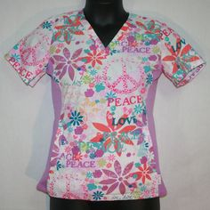 Women's Peaches Abby Scrub Top Peace & Love Small Floral Style 4294 BOPC S #Peaches Nurses Medical Uniforms