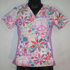 Women's Peaches Abby Scrub Top Peace & Love Small Floral Style 4294 BOPC S #Peaches Nurses Medical Uniforms