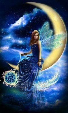Astre-feerique by Morrigan-LE on DeviantArt Elfen Fantasy, Fantasy Art, Fantasy Fairies, Fairy Wallpaper, Unicorn And Fairies, Fairy Drawings, Moon Fairy, Fairy Pictures, Beautiful Fairies