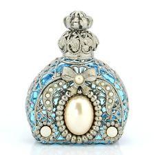 Jeweled Ornate Vintage Silver Tone Filigree Bow Aqua Blue Perfume Bottle