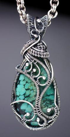 Wire Woven Cabochon Pendant with Kaska Firor