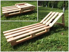 Pallet Furniture Projects Folding Pallet sunbed on wheels for portability. - Pallet sunbed on little wheels for the garden.