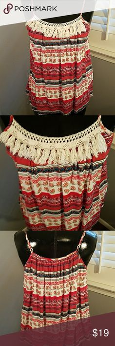 🇺🇸 Altar'd State red, white, & blue Tank White crochet tassels across front. Spaghetti straps, cool and flowy for summer! Altar'd State Tops Tank Tops