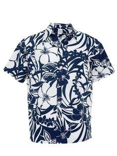 1adea766 Hibiscus& Plumeria Cutout Navy Poly Cotton Men's Hawaiian Shirt Hawaiian  Dresses, Mens Hawaiian Shirts