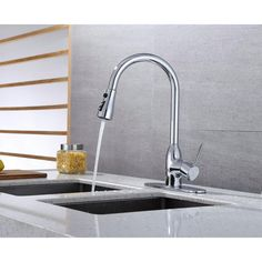 Runfine Single-Handle Pull-Down Sprayer Kitchen Faucet in Chrome-RFF10E - The Home Depot