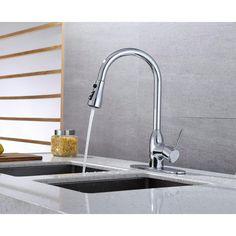 Runfine Single-Handle Pull-Down Sprayer Kitchen Faucet in Chrome-RFF10E - The Home Depot