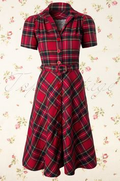 Seamstress of Bloomsbury Lisa Tartan Red 104 27 11974 20131204 Tartan Fashion, 1940s Fashion, I Love Fashion, Vintage Fashion, Womens Fashion, Cute Dresses, Vintage Dresses, Vintage Outfits, Tartan Dress