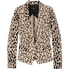 Tibi Printed cotton-blend sateen blazer ($252) ❤ liked on Polyvore