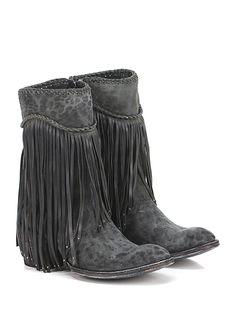 Mexicana - Stivali - Donna - Stivale in pelle e pelle effetto vintage con zip su lato interno e frange con borchie. Suola in cuoio, tacco 65. - BLACK\LEOPARD - € 625.00