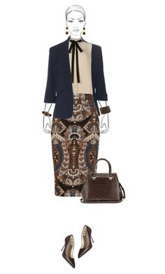 Office outfit: Navy - Brown by downtownblues on Polyvore #officewear  #Sleeveless  #pussybow  #pencilskirt  #paisley  #victoriabeckham  #manoloblahnik  #MaxMara