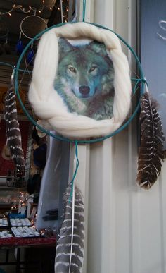 Handmade Dream Catcher with Wolf image by AbouttheBling on Etsy